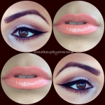 Peach lips with neutral eyes